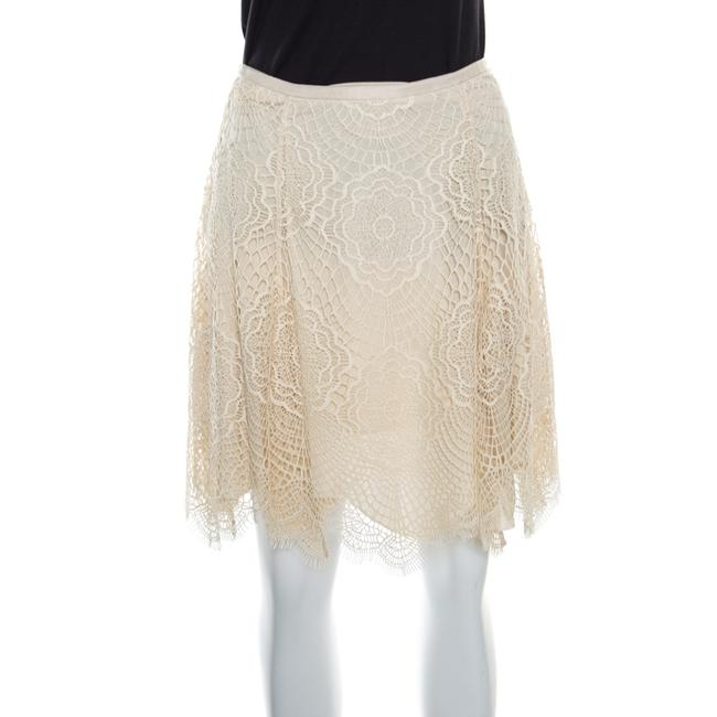 Item - Beige Floral Scalloped Lace Flared Mini Skirt