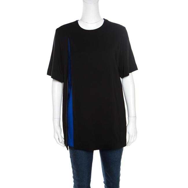 Item - Black and Blue Crepe Contrast Layered Tunic