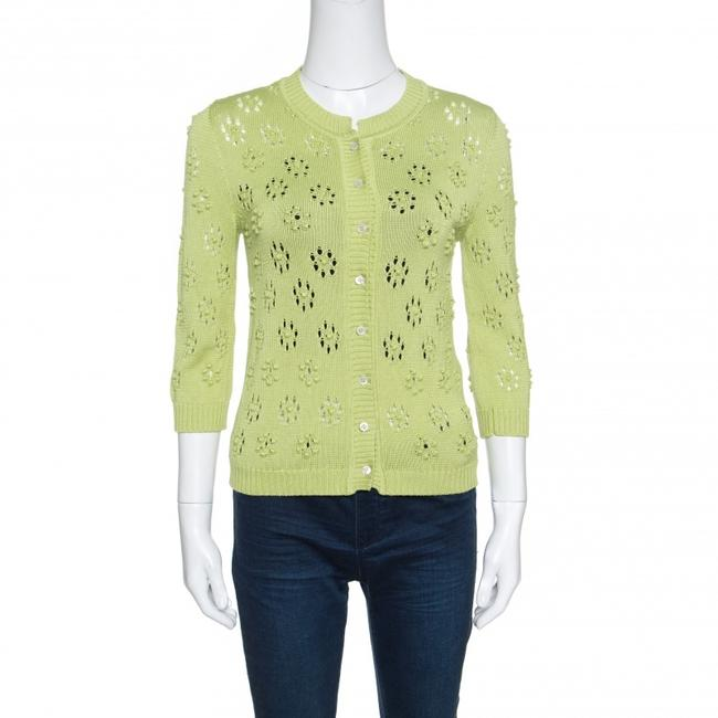 Item - Green Perforated Bobble Knit Cardigan