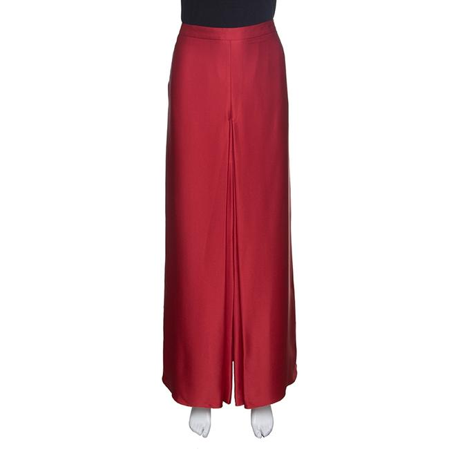 Item - L Red Silk Satin Front Slit Detail Maxi Skirt