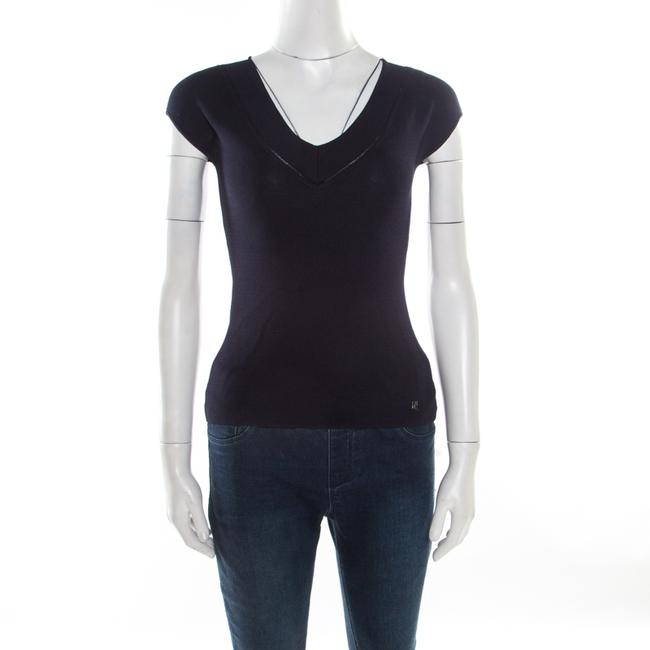Item - XS Navy Blue V-neck Sleeveless Knit Top Blouse
