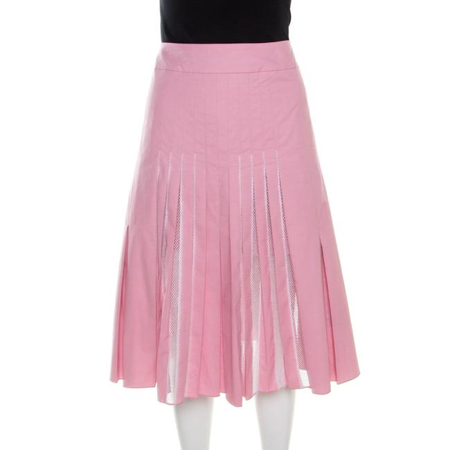 Item - Pastel Pink Cotton Lace Insert Pleated A Line Skirt