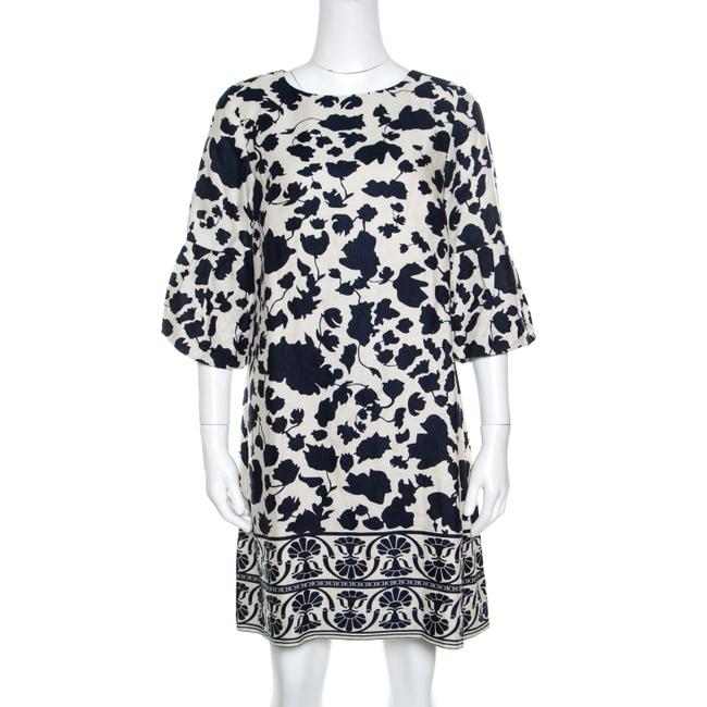 Item - Blue and Cream Floral Printed Linen Flounce Sleeve Dress M Tunic