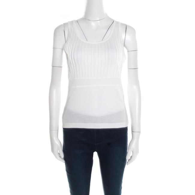 Item - L Off White Cotton and Modal Pintuck Detail Tank Top Blouse