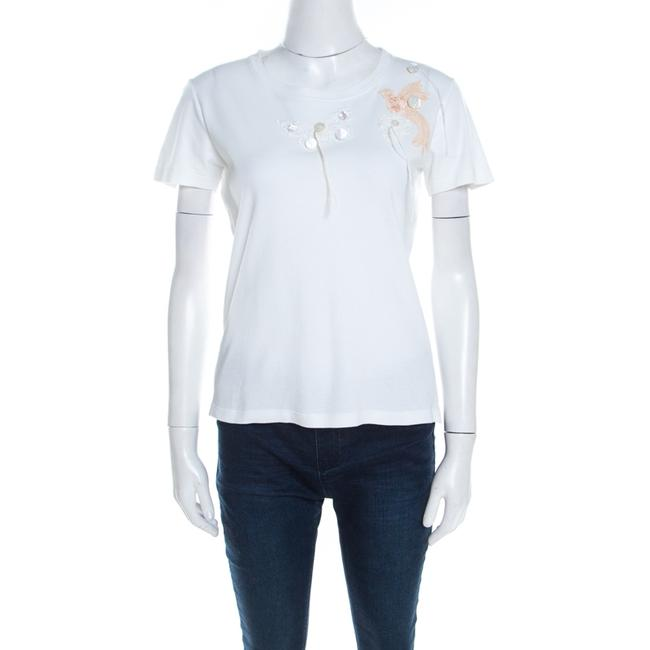 Item - Jersey L White Butterfly and Bird Lace Applique T-shirt Tee Shirt