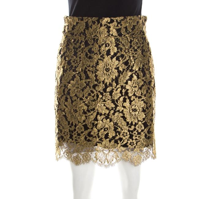 Item - Dolce & Gabbana Metallic Gold Lace Overlay Scalloped Mini Skirt