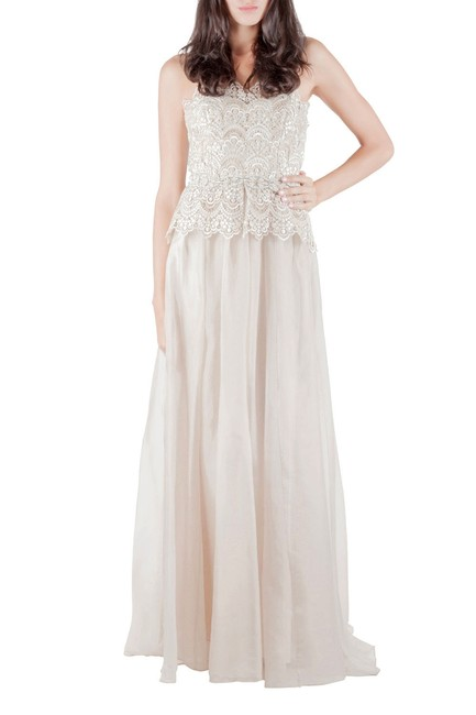 Item - Collection Ivory Gold Embellished Peplum Lace Bodice Strapless Evening Gown S
