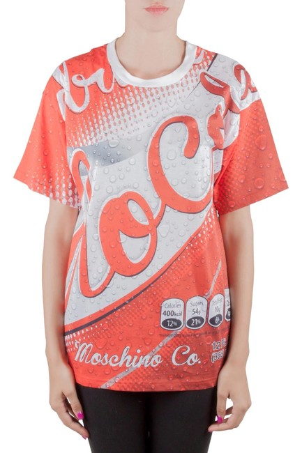Item - XS Couture Red Soda Can Printed Cotton Oversized T Shirt Blouse