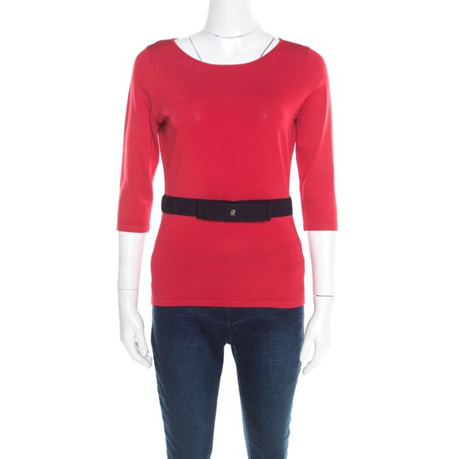 Item - Red Knit Contrast Waist Bow Detail Long Sleeve Blouse