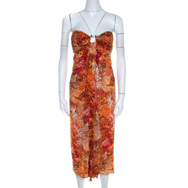 Item - Orange Abstract Print Sheer Silk Pleated Strapless Bodice Casual Maxi Dress