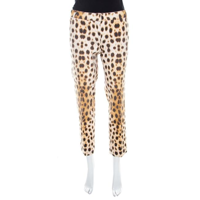 Item - Beige Leopard Print Cotton Tapered Ankle Grazer Trousers M Pants