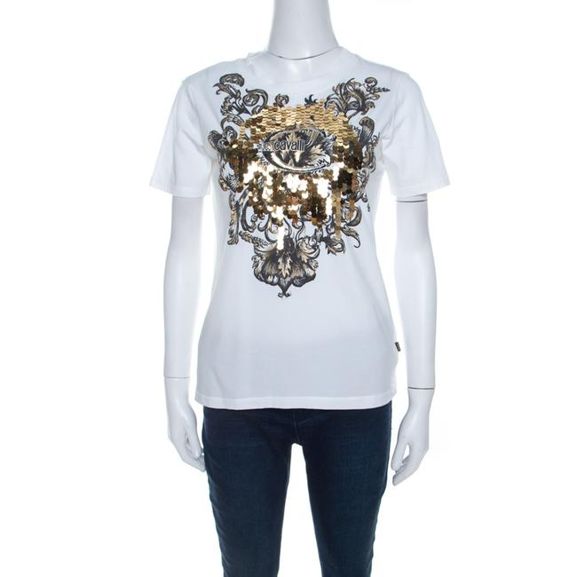Item - Jersey White Cotton Sequin Paillette Embellished T-shirt M Tee Shirt