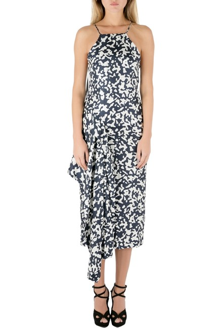 Item - XS Navy Blue and White Printed Silk Side Bustle Dress