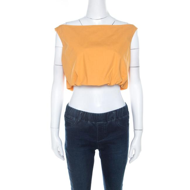 Item - Orange Cotton Bateau Neck Back Tie Up Detail Crop Top M Blouse