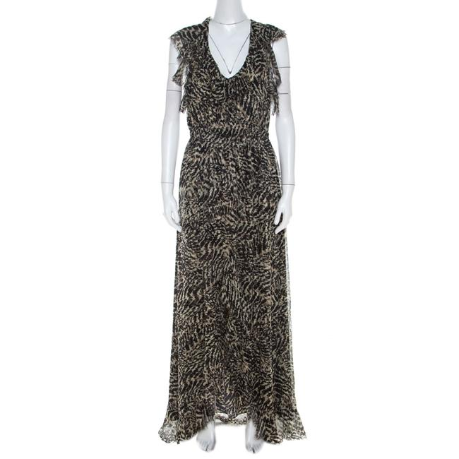 Item - Brown Abstract Printed Silk Sophie Flutter Casual Maxi Dress