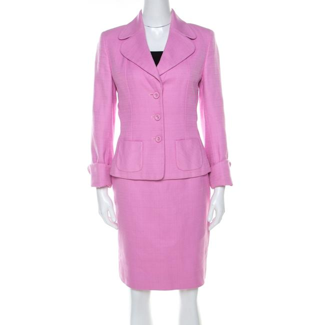 Item - Pink Cotton Basketweave Tailored Skirt Suit Set M