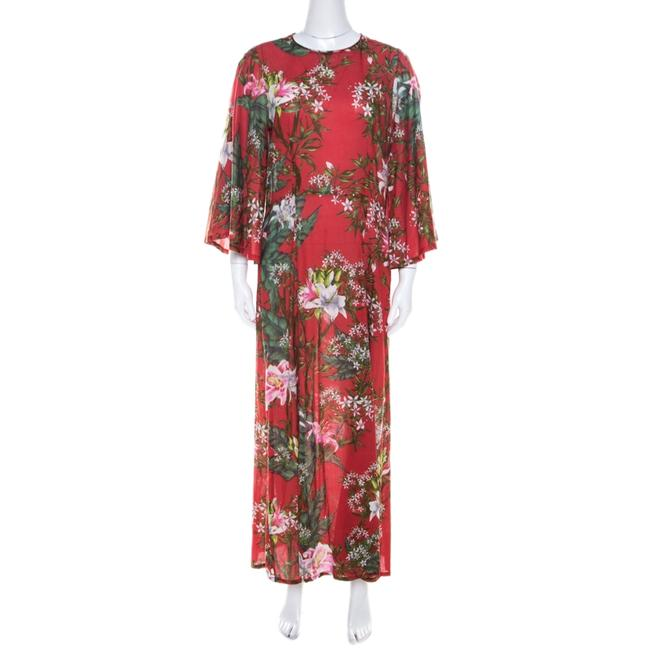 Item - Etoile Red Floral Print Cotton Voile Casual Maxi Dress