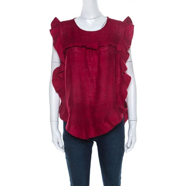 Item - Burnt Red Slub Silk Ruffled Trim Sidony Curved Hem Top M Blouse