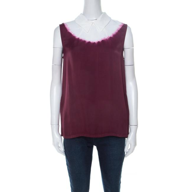 Item - Ombre Burgundy White Coated Satin Sleeveless Top M Blouse