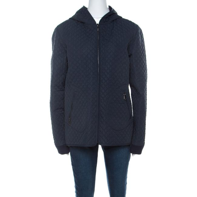 Item - L Navy Blue Quilted Zip Front Hooded Jacket