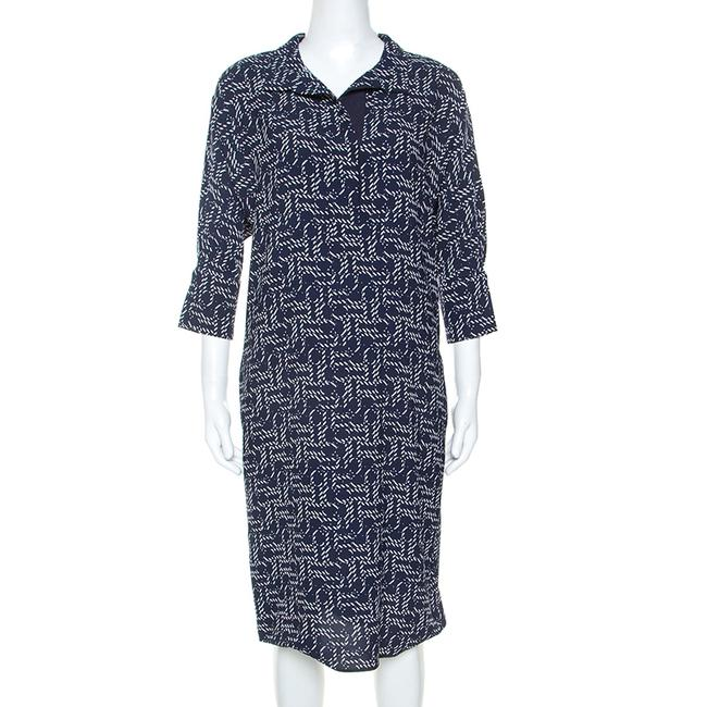 Item - XS Navy Blue Printed Crepe Dress Tunic