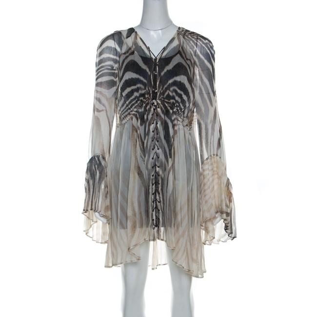Item - L Cream and Grey Tiger Printed Silk Tie Front Sheer Dress