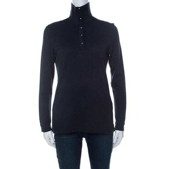 Item - L Navy Blue Monogram Patterned Knit Collared Top Blouse