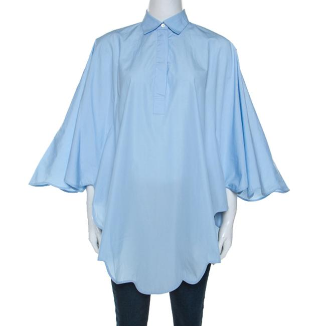 Item - Light Blue Cotton Scalloped Hem Shirt M Blouse