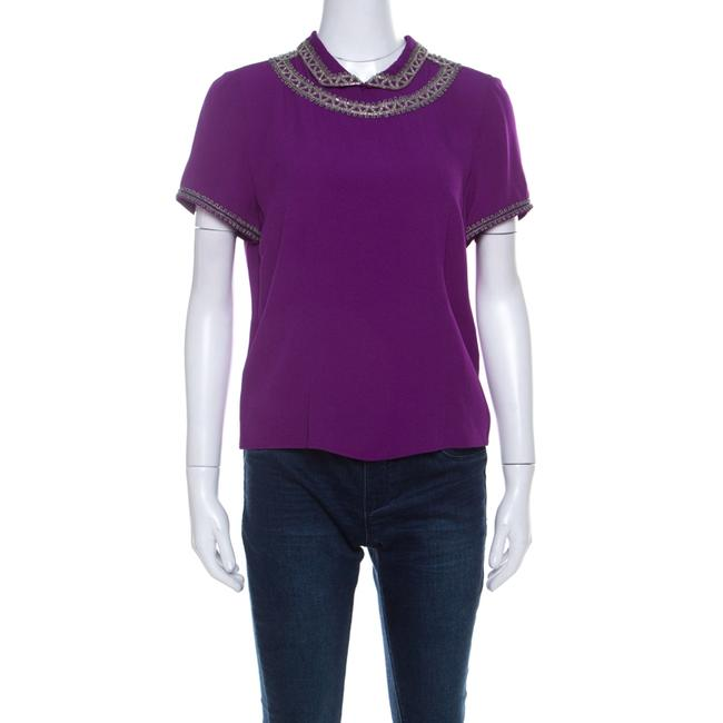 Item - L Purple Silk Embellished Collar Half Sleeve Top Blouse