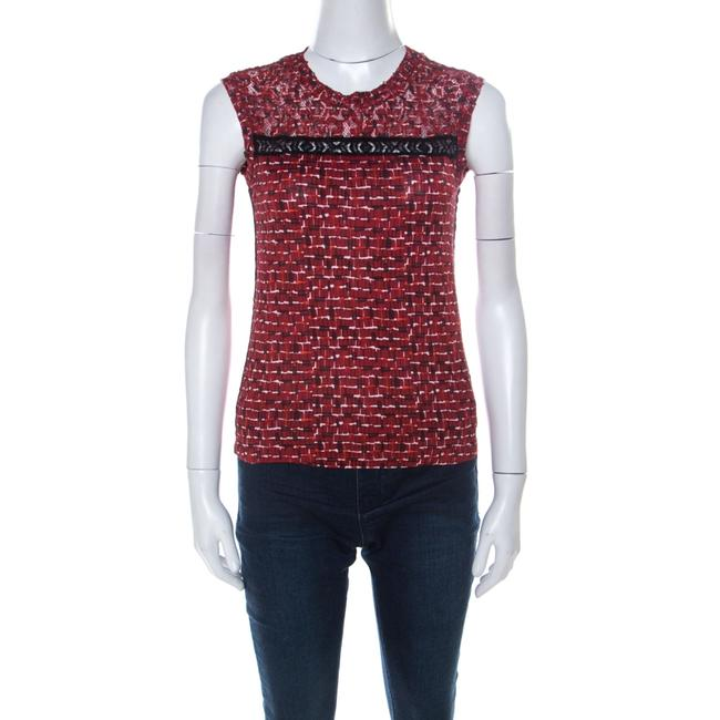 Item - Red Microsquare Printed Cotton and Lace Yoke Sleeveless Blouse