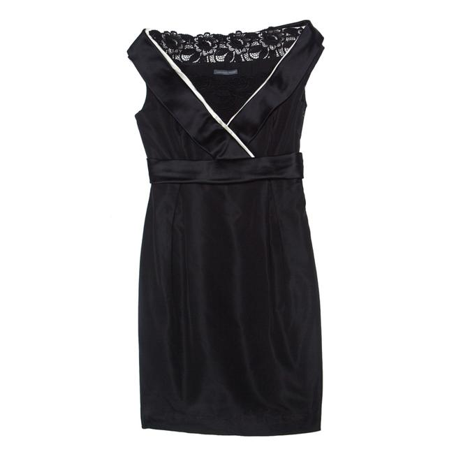 Item - Black Silk & Cotton Blend Tuxedo Detail M Cocktail Dress