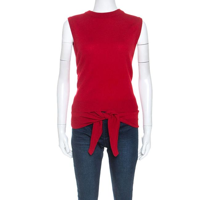 Item - XS Red Cashmere Knit Wrap Around Front Tie Detail Top Blouse
