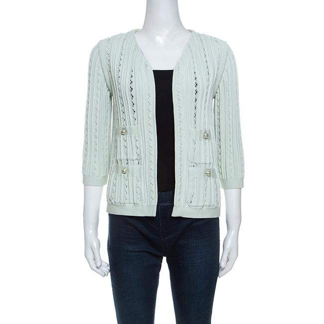 Item - Mint Green Cotton Blend Perforated Knit Cardigan