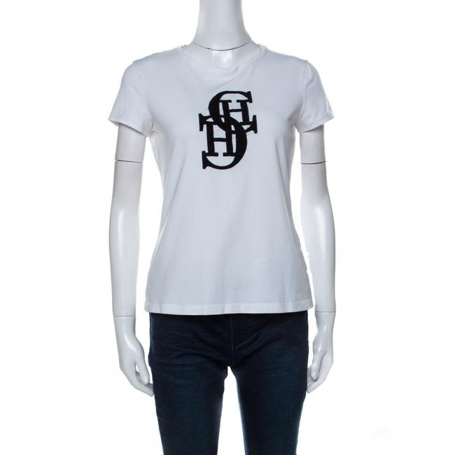 Item - Ch White Cotton Embroidered Logo Detail T-shirt S Tee Shirt