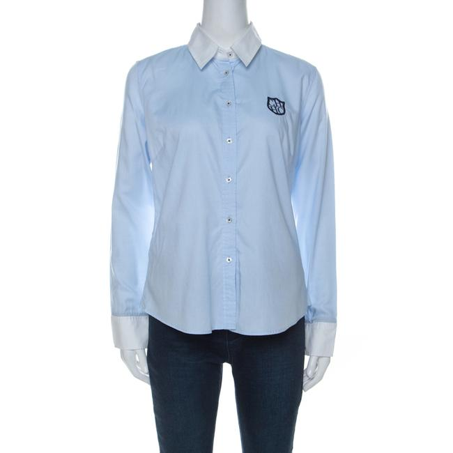 Item - Blue Cotton Crest Embroidered Button Front Oxford Shirt M Blouse