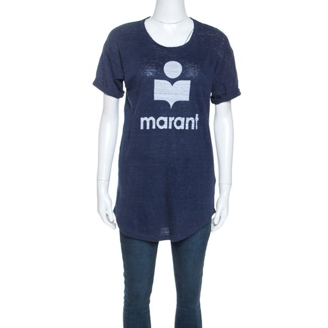 Item - Navy Blue Moby Logo Printed Linen T-shirt M Blouse