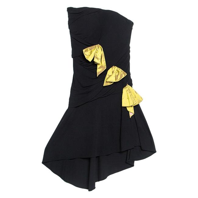 Item - Black Crepe Bow Applique Ruched Strapless
