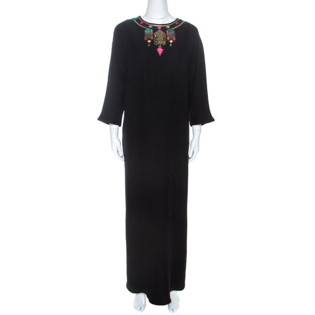 Item - L Black Crepe Embroidered Detail Casual Maxi Dress