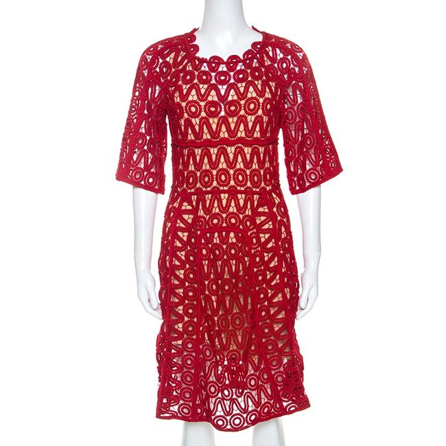 Chloé Lacquer Red Corded Lace Contrast Silk Lined Sheath Chloé Lacquer Red Corded Lace Contrast Silk Lined Sheath Image 1