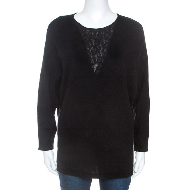 Item - Black Cashmere Blend Lace Insert Sweater/Pullover