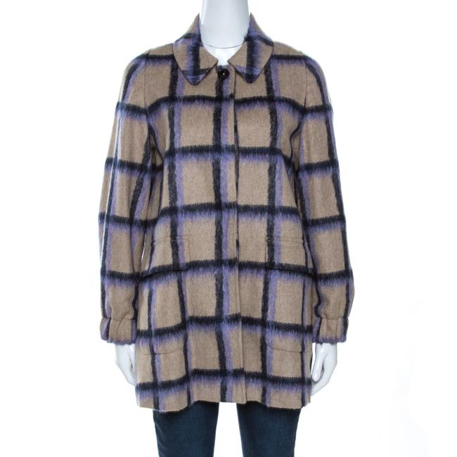 Item - XS Beige Alpaca Trim Windowpane Check Coat Jacket