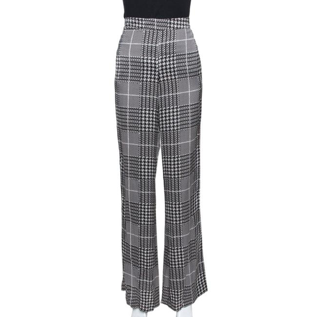 Item - Monochrome Houndstooth Printed Satin Wide Leg Trousers M Pants