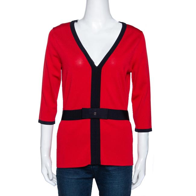 Item - Red Knit Contrast Trim Detail Top M Blouse