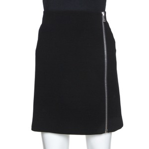 Gucci L Black Crepe Zipper Detail Fitted Skirt
