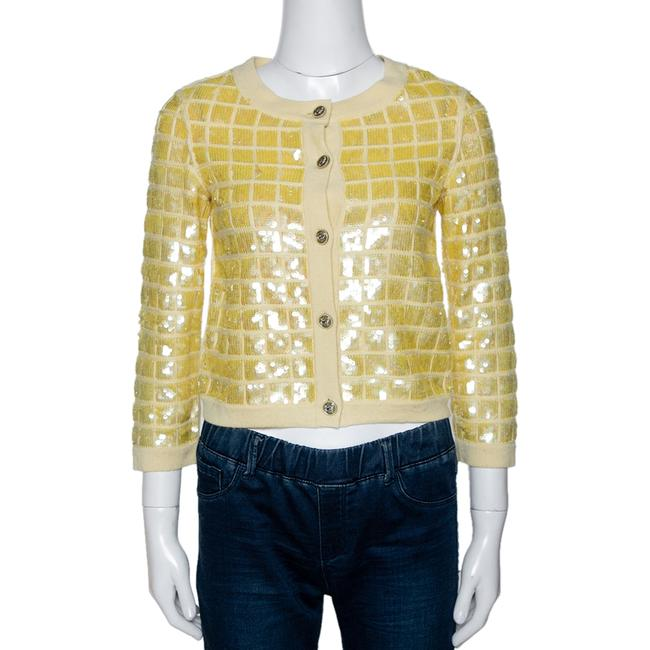 Item - Yellow Sequined Cashmere Button Front Cardigan