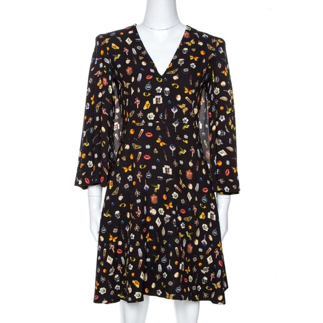 Item - Brown Obsession Print Crepe Cape Sleeve