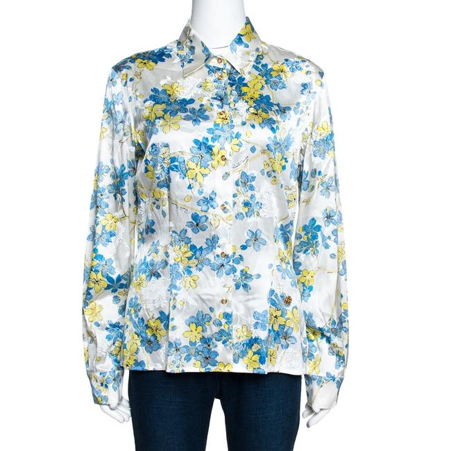 Item - L White Floral Printed Stretch Silk Button Front Shirt Blouse