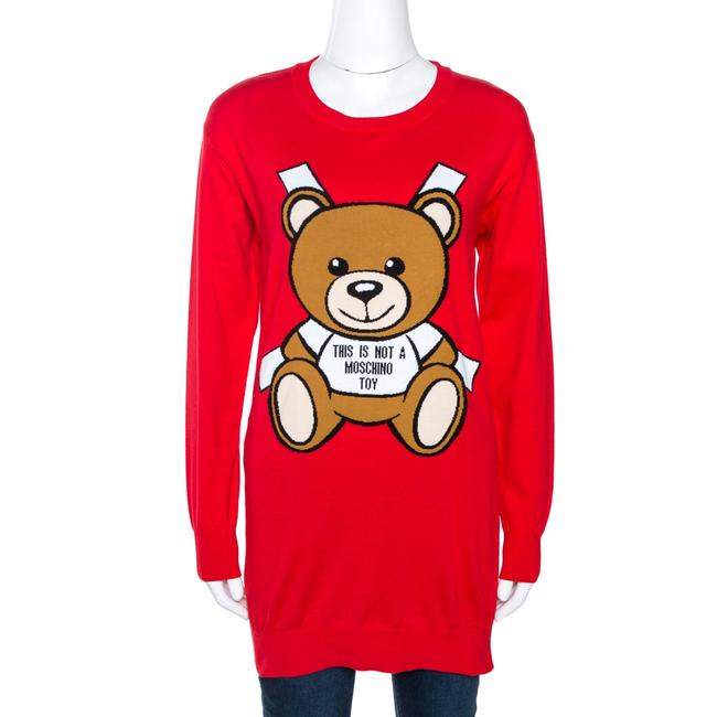 Item - Couture Red Teddy Bear Jacquard Knit Jumper Xxs Cardigan