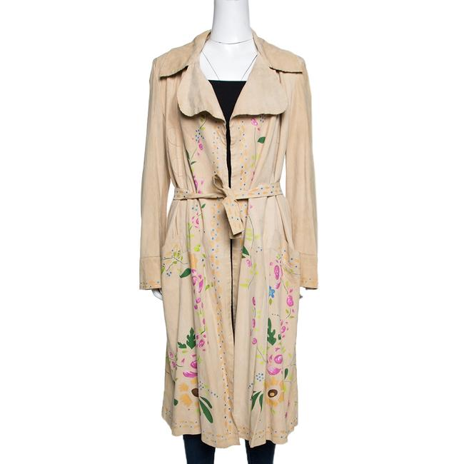 Item - Beige Suede Floral Painted Effect Belted Mid Length Coat M Belt