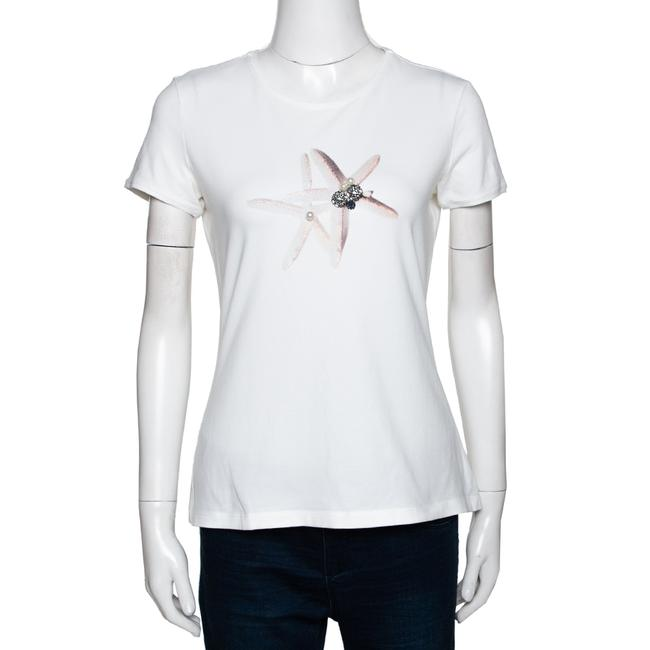 Item - White Star Fish Embellished Stretch Cotton Top M Blouse